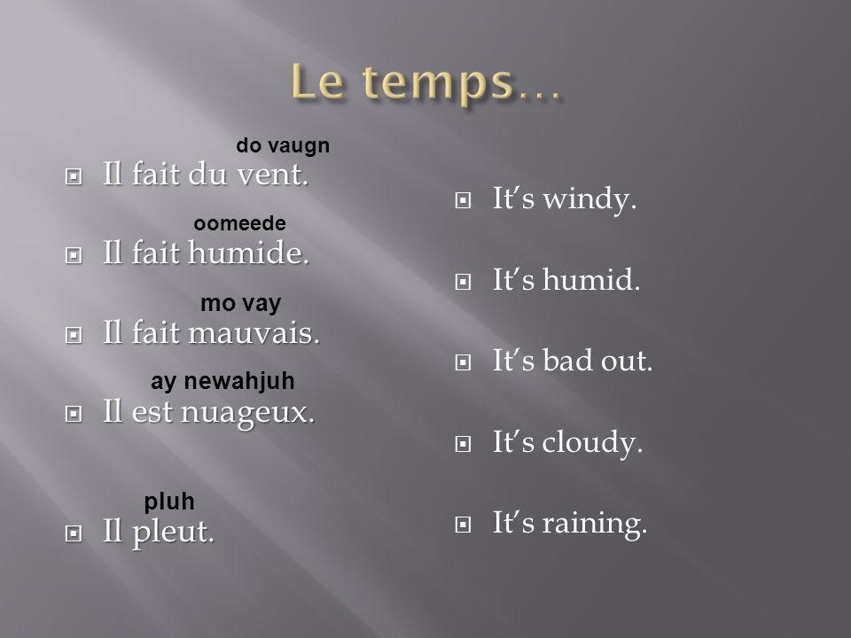  Il fait du vent.  Il fait humide.  Il fait mauvais.  Il est nuageux.  Il pleut.  It's windy.  It's humid.  It's bad out.  It's cloudy.  It'