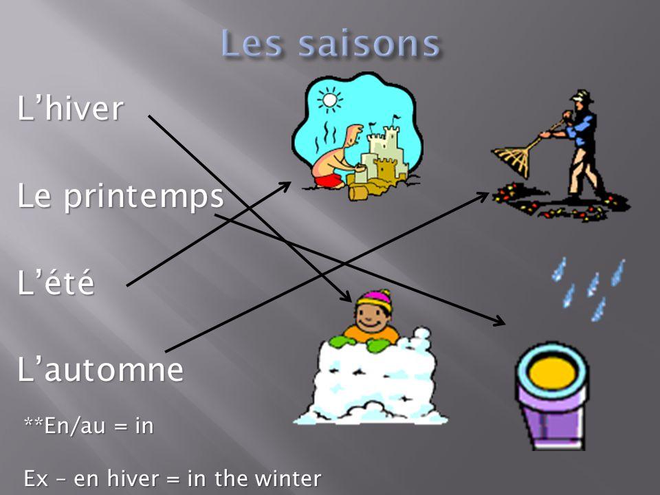 L'hiver Le printemps L'étéL'automne **En/au = in Ex – en hiver = in the winter