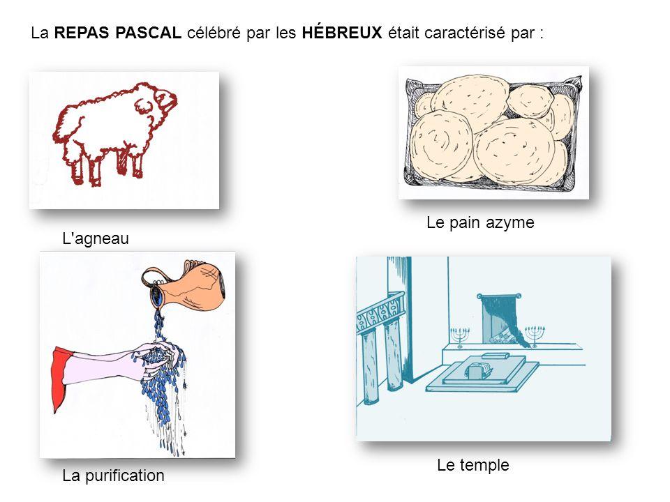 La REPAS PASCAL célébré par les HÉBREUX était caractérisé par : Le pain azyme L'agneau La purification Le temple