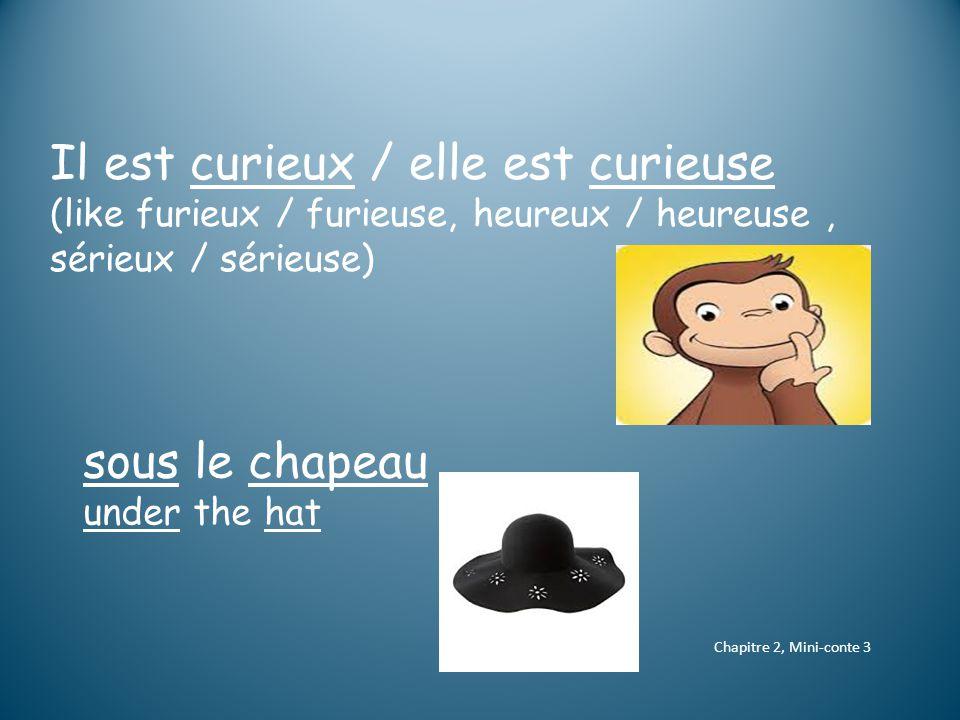 Chapitre 2, Mini-conte 3 Il est curieux / elle est curieuse (like furieux / furieuse, heureux / heureuse, sérieux / sérieuse) sous le chapeau under the hat