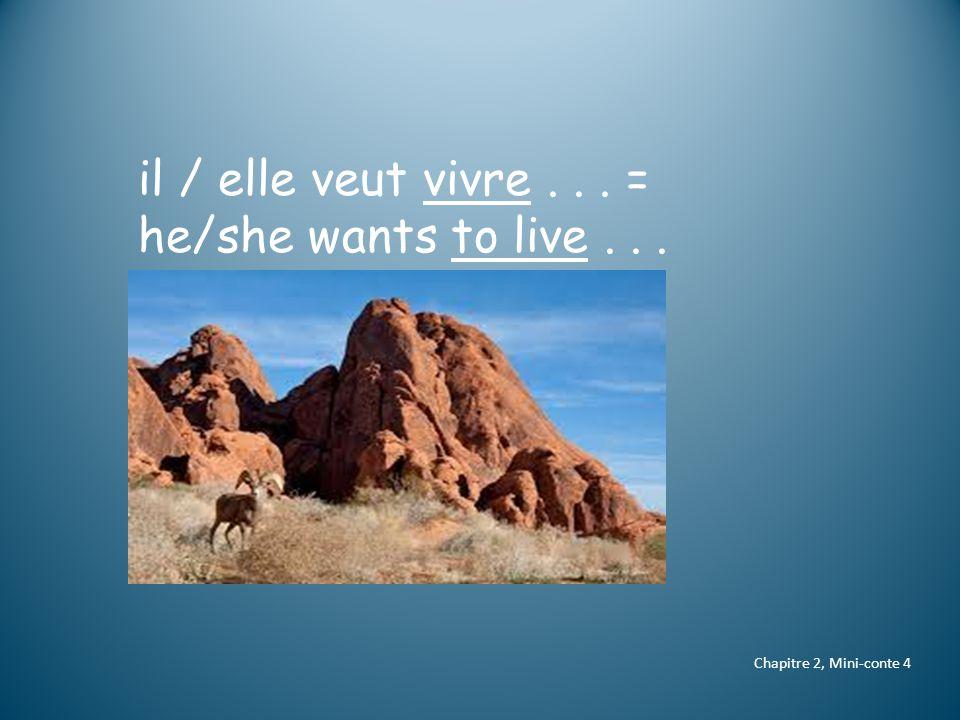 Chapitre 2, Mini-conte 4 il / elle veut vivre... = he/she wants to live...
