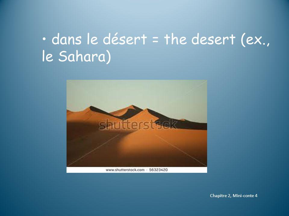 dans le désert = the desert (ex., le Sahara) Chapitre 2, Mini-conte 4