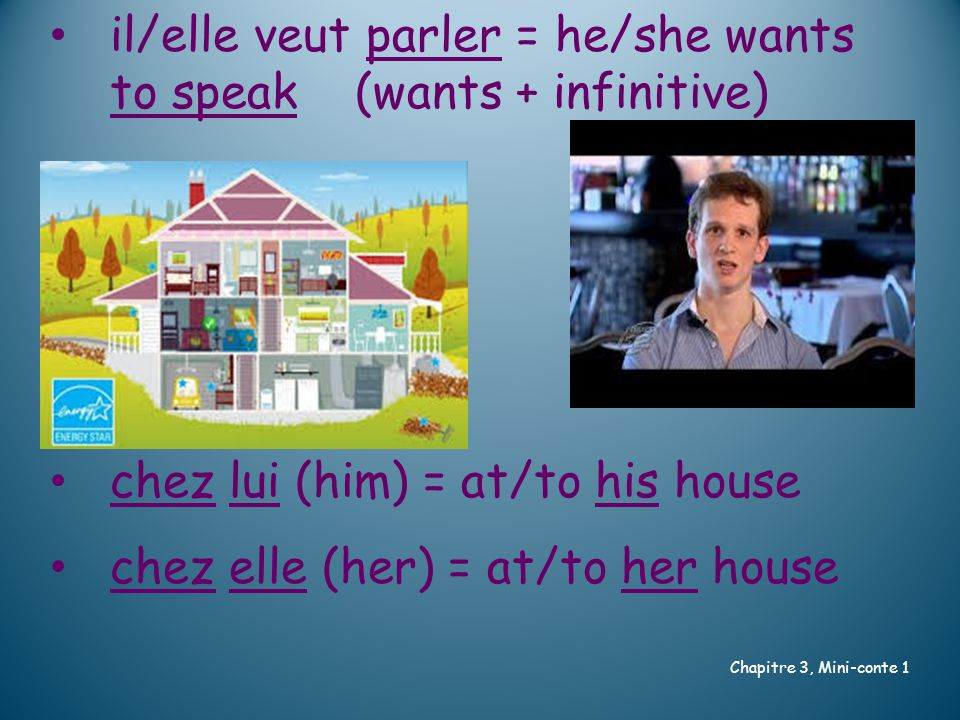 il/elle veut parler = he/she wants to speak (wants + infinitive) chez lui (him) = at/to his house chez elle (her) = at/to her house Chapitre 3, Mini-conte 1