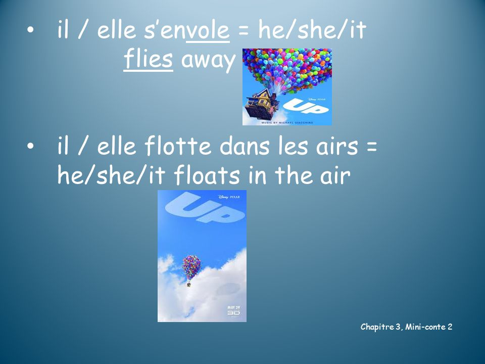 il / elle s'envole = he/she/it flies away il / elle flotte dans les airs = he/she/it floats in the air