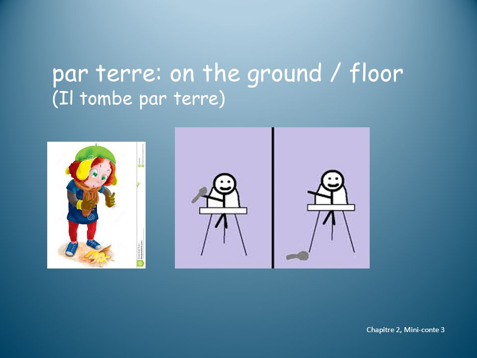 Chapitre 2, Mini-conte 3 par terre: on the ground / floor (Il tombe par terre)