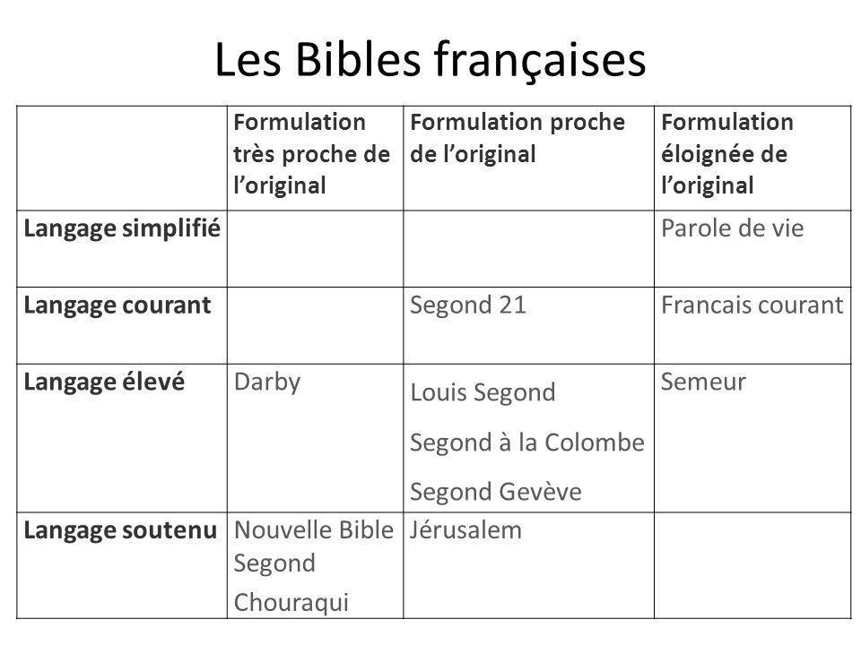 Les Bibles françaises Formulation très proche de l'original Formulation proche de l'original Formulation éloignée de l'original Langage simplifiéParol
