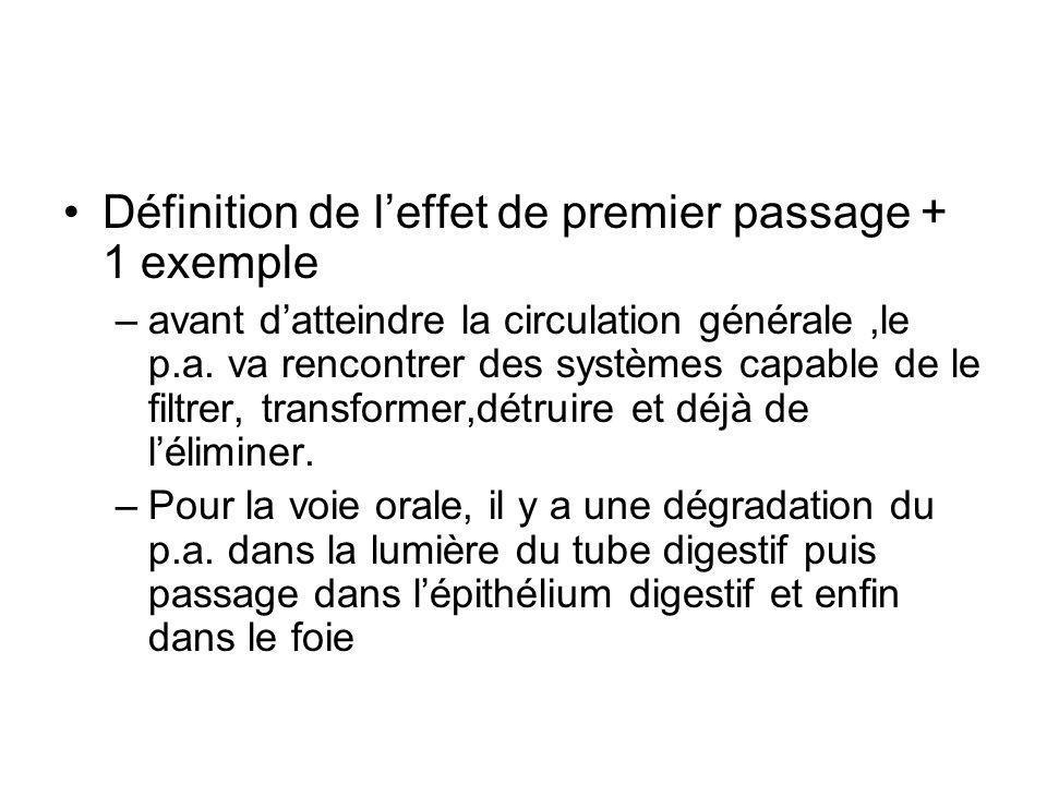 Définition de l'effet de premier passage + 1 exemple –avant d'atteindre la circulation générale,le p.a. va rencontrer des systèmes capable de le filtr
