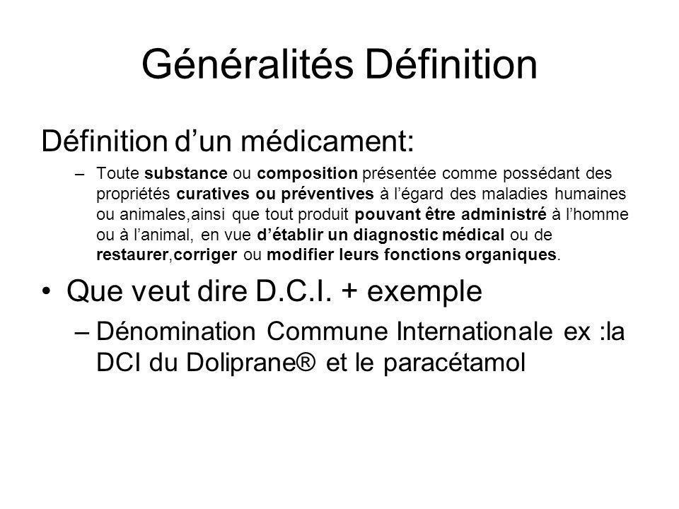 Généralités Définition Définition d'un médicament: –Toute substance ou composition présentée comme possédant des propriétés curatives ou préventives à