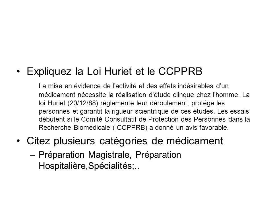 Expliquez la Loi Huriet et le CCPPRB La mise en évidence de l'activité et des effets indésirables d'un médicament nécessite la réalisation d'étude cli