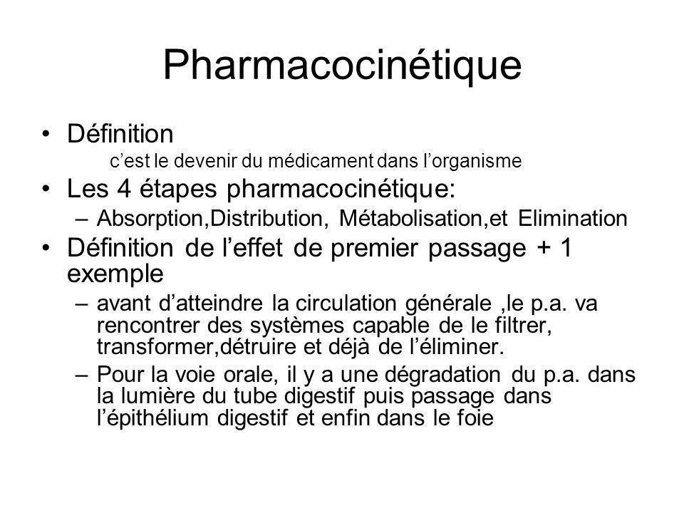 Pharmacocinétique Définition c'est le devenir du médicament dans l'organisme Les 4 étapes pharmacocinétique: –Absorption,Distribution, Métabolisation,