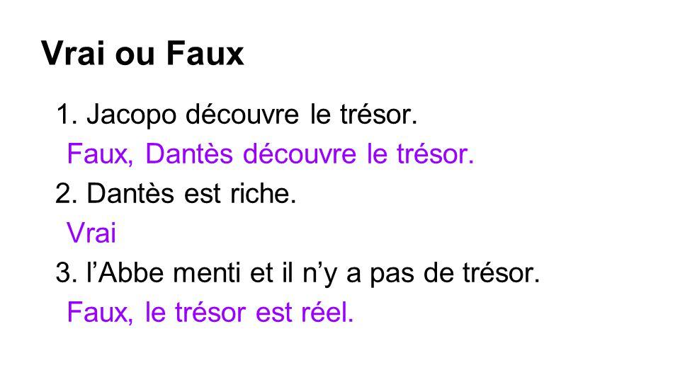 Vrai ou Faux 1. Jacopo découvre le trésor. Faux, Dantès découvre le trésor.
