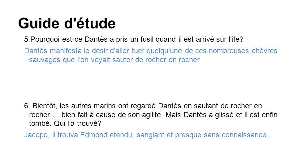 Guide d étude 5.Pourquoi est-ce Dantès a pris un fusil quand il est arrivé sur l'île.
