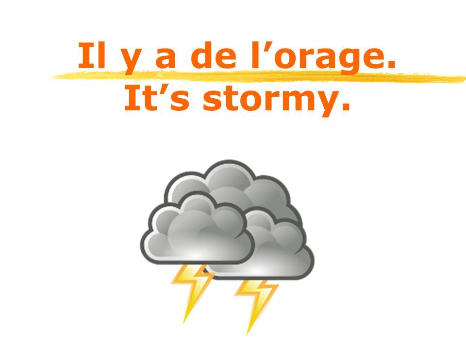 Il y a de l'orage. It's stormy.