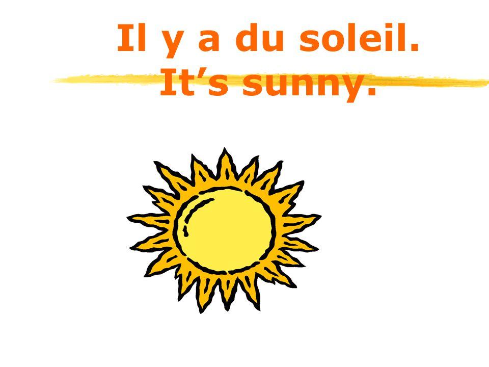 Il y a du soleil. It's sunny.