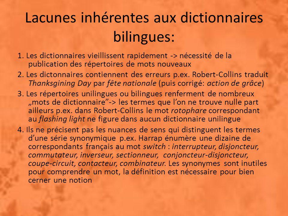 Lacunes inhérentes aux dictionnaires bilingues: 1.