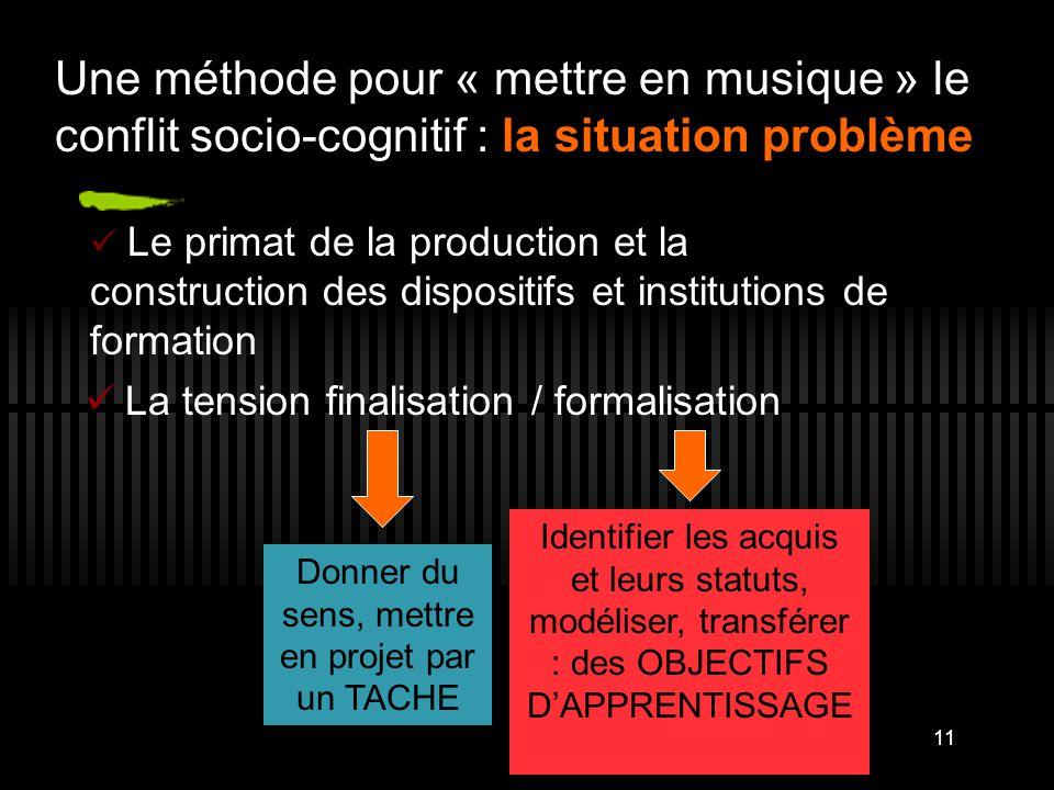 Une méthode pour « mettre en musique » le conflit socio-cognitif : la situation problème La tension finalisation / formalisation 11 Donner du sens, me