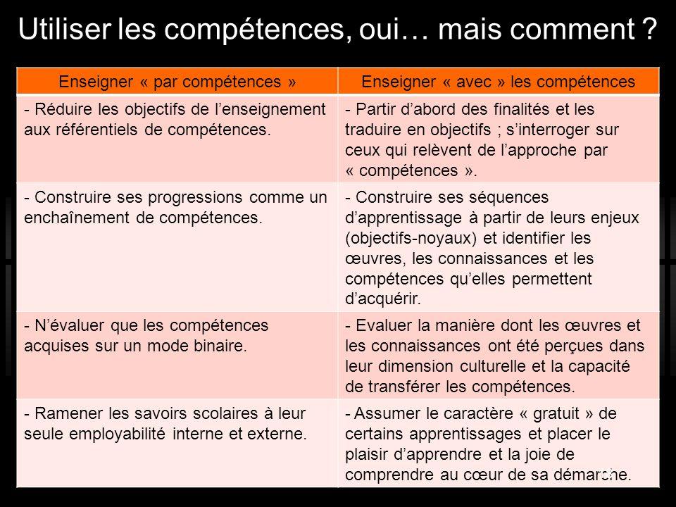 Enseigner « par compétences »Enseigner « avec » les compétences - Réduire les objectifs de l'enseignement aux référentiels de compétences. - Partir d'