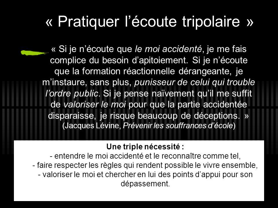 « Pratiquer l'écoute tripolaire » 25 Une triple nécessité : - entendre le moi accidenté et le reconnaître comme tel, - faire respecter les règles qui