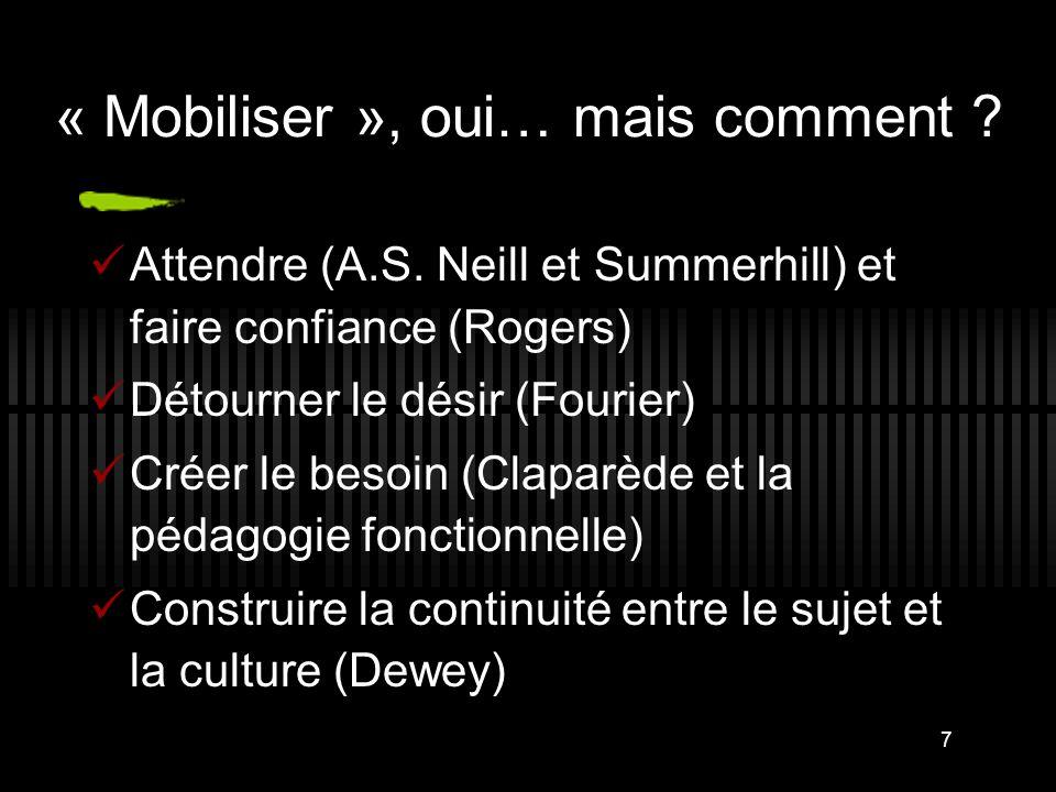 Attendre (A.S. Neill et Summerhill) et faire confiance (Rogers) Détourner le désir (Fourier) Créer le besoin (Claparède et la pédagogie fonctionnelle)