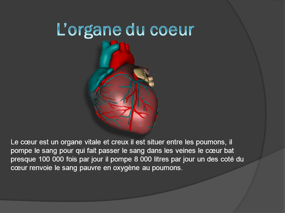 Le cœur est un organe vitale et creux il est situer entre les poumons, il pompe le sang pour qui fait passer le sang dans les veines le cœur bat presq