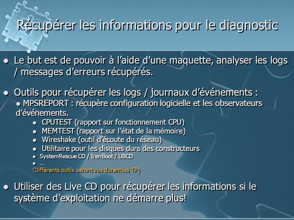 Récupérer les informations pour le diagnostic Le but est de pouvoir à l'aide d'une maquette, analyser les logs / messages d'erreurs récupérés. Outils