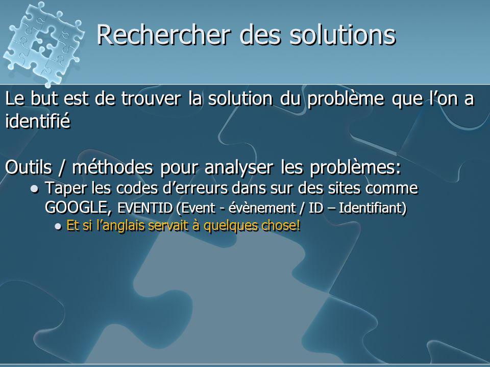 Rechercher des solutions Le but est de trouver la solution du problème que l'on a identifié Outils / méthodes pour analyser les problèmes: Taper les c