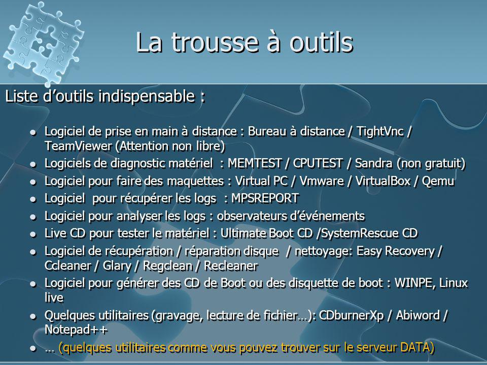 La trousse à outils Liste d'outils indispensable : Logiciel de prise en main à distance : Bureau à distance / TightVnc / TeamViewer (Attention non lib