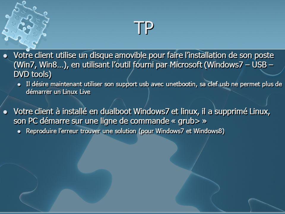 TP Votre client utilise un disque amovible pour faire l'installation de son poste (Win7, Win8…), en utilisant l'outil fourni par Microsoft (Windows7 –