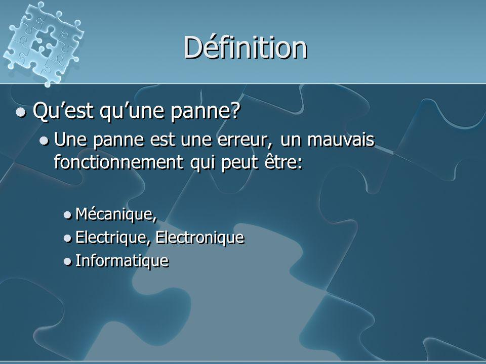 Définition Qu'est qu'une panne? Une panne est une erreur, un mauvais fonctionnement qui peut être: Mécanique, Electrique, Electronique Informatique Qu