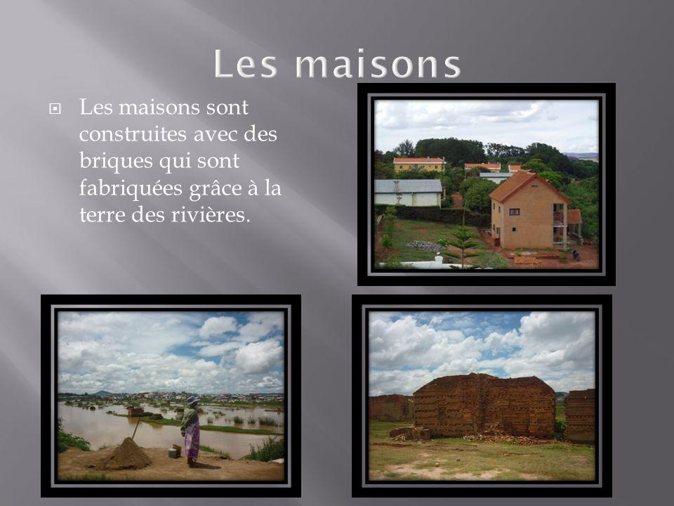  Les maisons sont construites avec des briques qui sont fabriquées grâce à la terre des rivières.