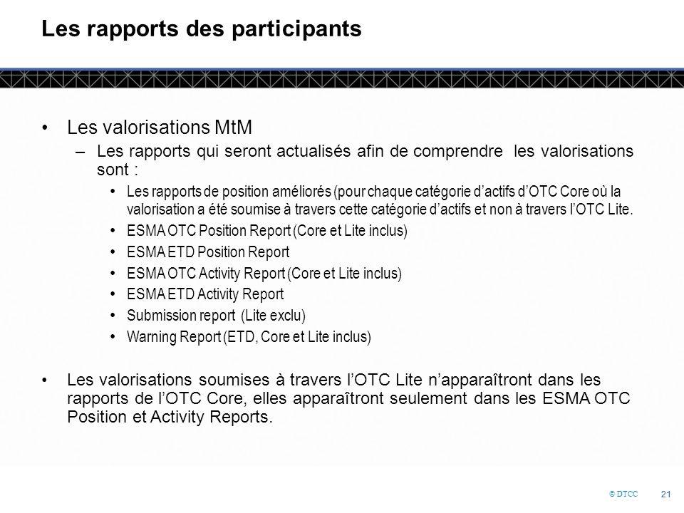 © DTCC 21 Les rapports des participants Les valorisations MtM –Les rapports qui seront actualisés afin de comprendre les valorisations sont : Les rapports de position améliorés (pour chaque catégorie d'actifs d'OTC Core où la valorisation a été soumise à travers cette catégorie d'actifs et non à travers l'OTC Lite.