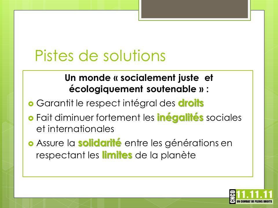 Un monde « socialement juste et écologiquement soutenable » : droits  Garantit le respect intégral des droits inégalités  Fait diminuer fortement le