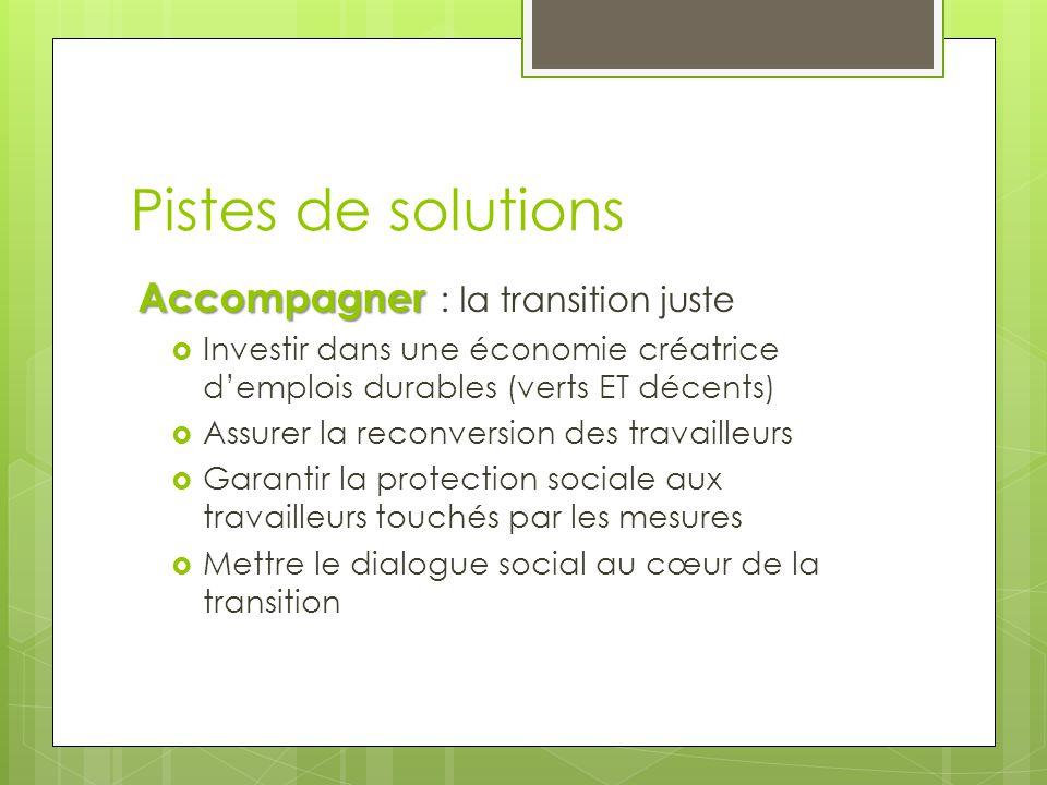 Pistes de solutions Accompagner Accompagner : la transition juste  Investir dans une économie créatrice d'emplois durables (verts ET décents)  Assur