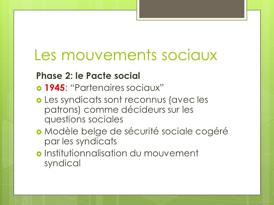 Les mouvements sociaux Phase 2: le Pacte social  1945 : Partenaires sociaux  Les syndicats sont reconnus (avec les patrons) comme décideurs sur les questions sociales  Modèle belge de sécurité sociale cogéré par les syndicats  Institutionnalisation du mouvement syndical