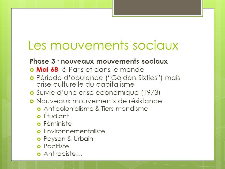 """Les mouvements sociaux Phase 3 : nouveaux mouvements sociaux  Mai 68, à Paris et dans le monde  Période d'opulence (""""Golden Sixties"""") mais crise cul"""