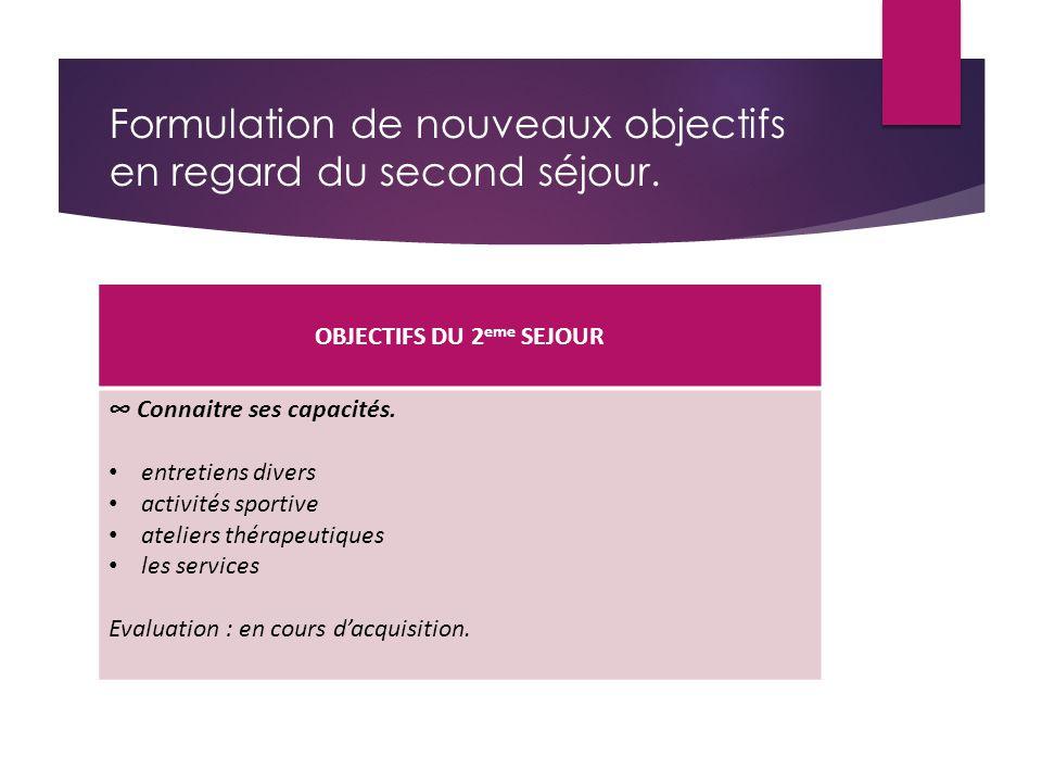 Formulation de nouveaux objectifs en regard du second séjour. OBJECTIFS DU 2 eme SEJOUR ∞ Connaitre ses capacités. entretiens divers activités sportiv
