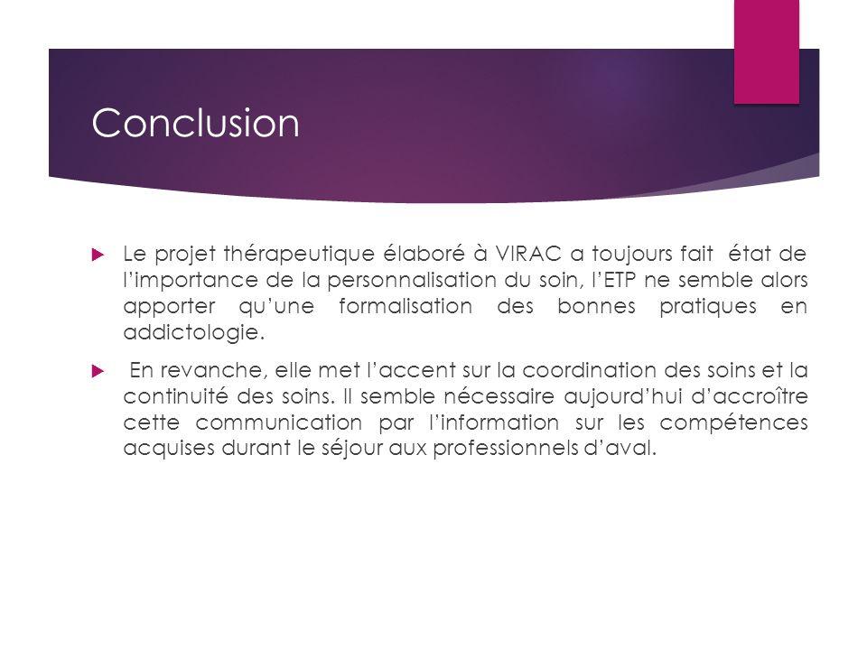 Conclusion  Le projet thérapeutique élaboré à VIRAC a toujours fait état de l'importance de la personnalisation du soin, l'ETP ne semble alors apport