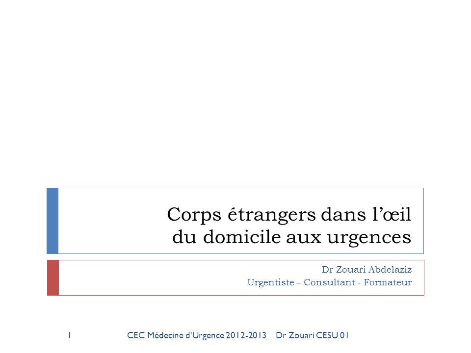 Corps étrangers dans l'œil du domicile aux urgences Dr Zouari Abdelaziz Urgentiste – Consultant - Formateur 1CEC Médecine d'Urgence 2012-2013 _ Dr Zou