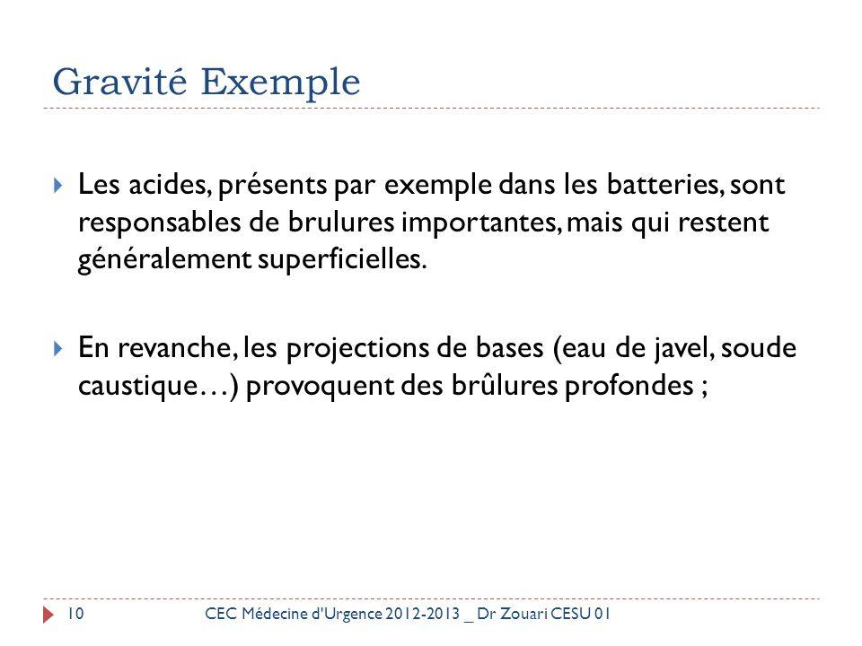 Gravité Exemple  Les acides, présents par exemple dans les batteries, sont responsables de brulures importantes, mais qui restent généralement superf