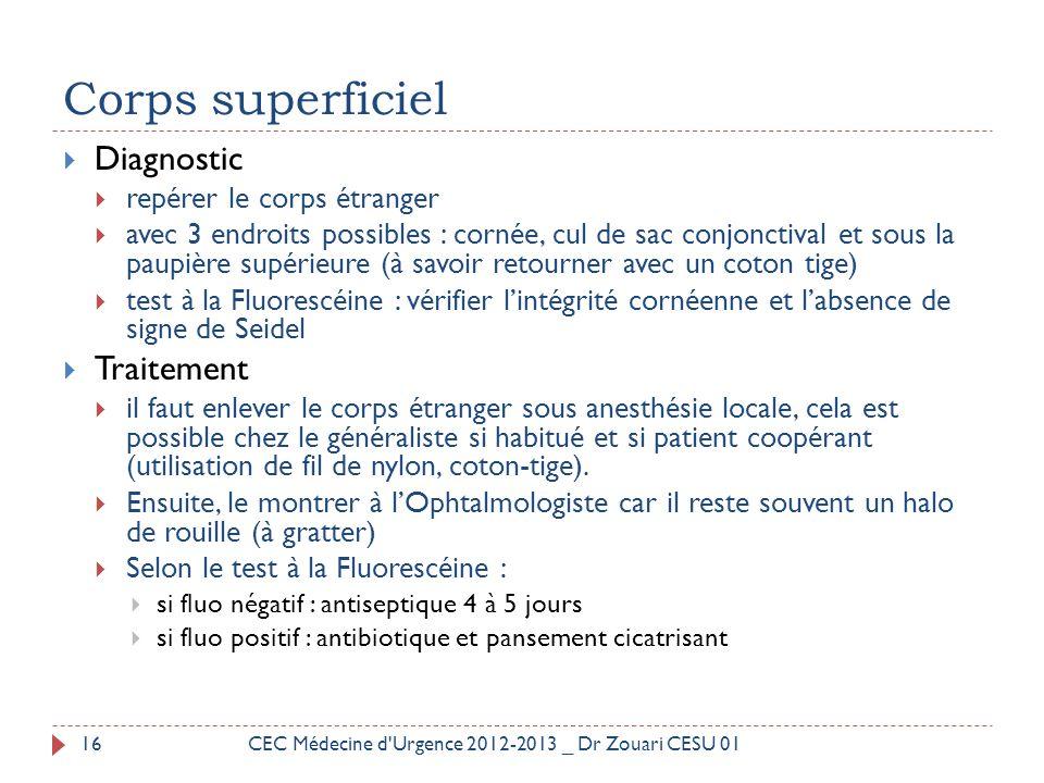 Corps superficiel  Diagnostic  repérer le corps étranger  avec 3 endroits possibles : cornée, cul de sac conjonctival et sous la paupière supérieur