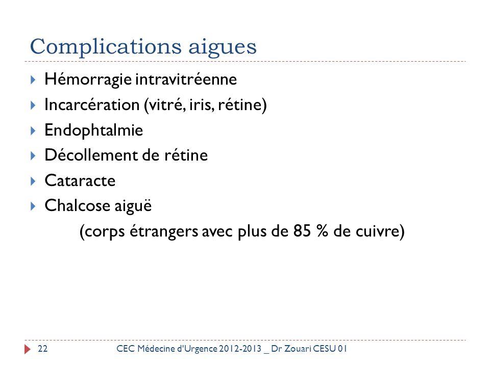 Complications aigues  Hémorragie intravitréenne  Incarcération (vitré, iris, rétine)  Endophtalmie  Décollement de rétine  Cataracte  Chalcose a