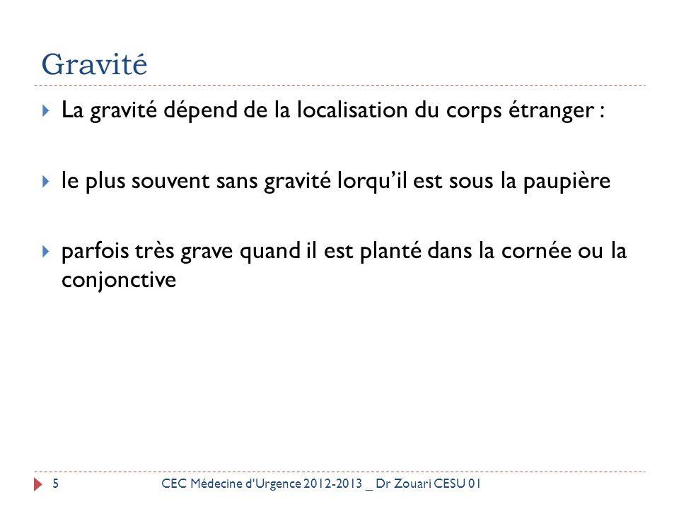 Gravité  La gravité dépend de la localisation du corps étranger :  le plus souvent sans gravité lorqu'il est sous la paupière  parfois très grave q