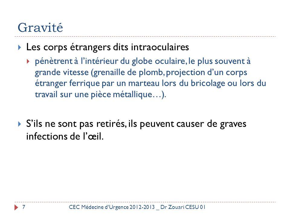  Paille métallique sur la cornée 18CEC Médecine d Urgence 2012-2013 _ Dr Zouari CESU 01