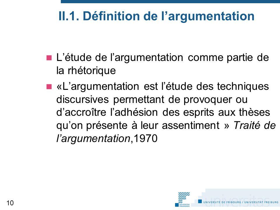 II.1. Définition de l'argumentation L'étude de l'argumentation comme partie de la rhétorique «L'argumentation est l'étude des techniques discursives p