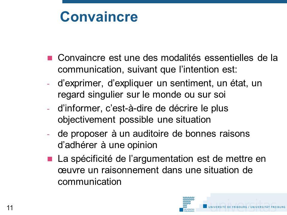 Convaincre Convaincre est une des modalités essentielles de la communication, suivant que l'intention est: - d'exprimer, d'expliquer un sentiment, un