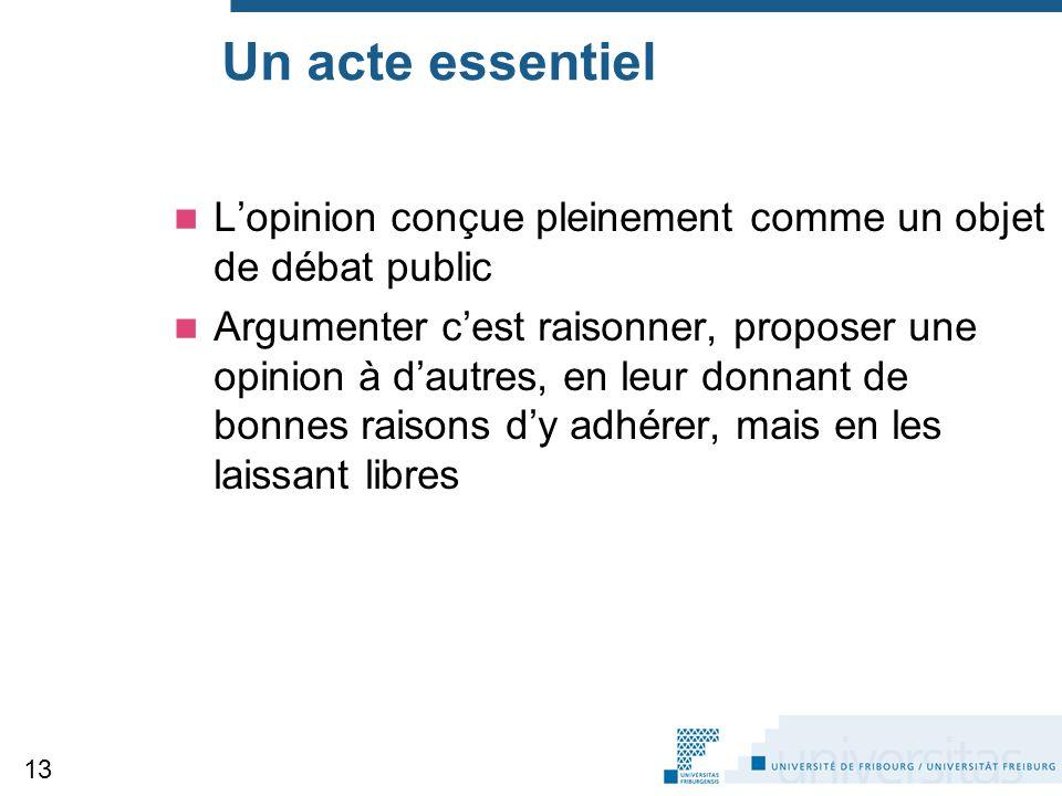 Un acte essentiel L'opinion conçue pleinement comme un objet de débat public Argumenter c'est raisonner, proposer une opinion à d'autres, en leur donn