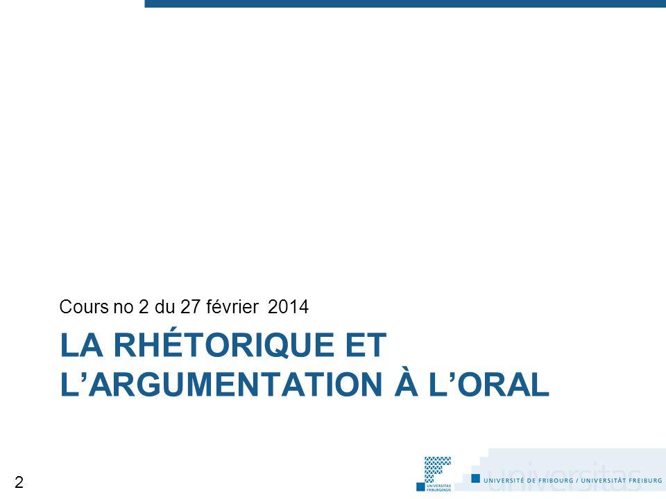 LA RHÉTORIQUE ET L'ARGUMENTATION À L'ORAL Cours no 2 du 27 février 2014 2
