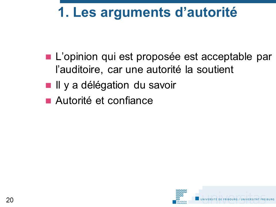 1. Les arguments d'autorité L'opinion qui est proposée est acceptable par l'auditoire, car une autorité la soutient Il y a délégation du savoir Autori