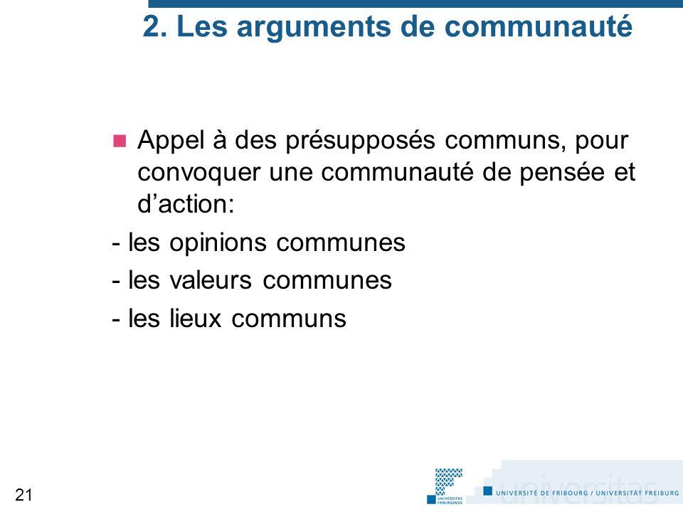 2. Les arguments de communauté Appel à des présupposés communs, pour convoquer une communauté de pensée et d'action: - les opinions communes - les val