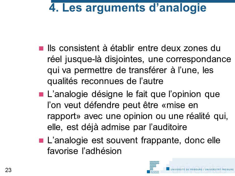 4. Les arguments d'analogie Ils consistent à établir entre deux zones du réel jusque-là disjointes, une correspondance qui va permettre de transférer